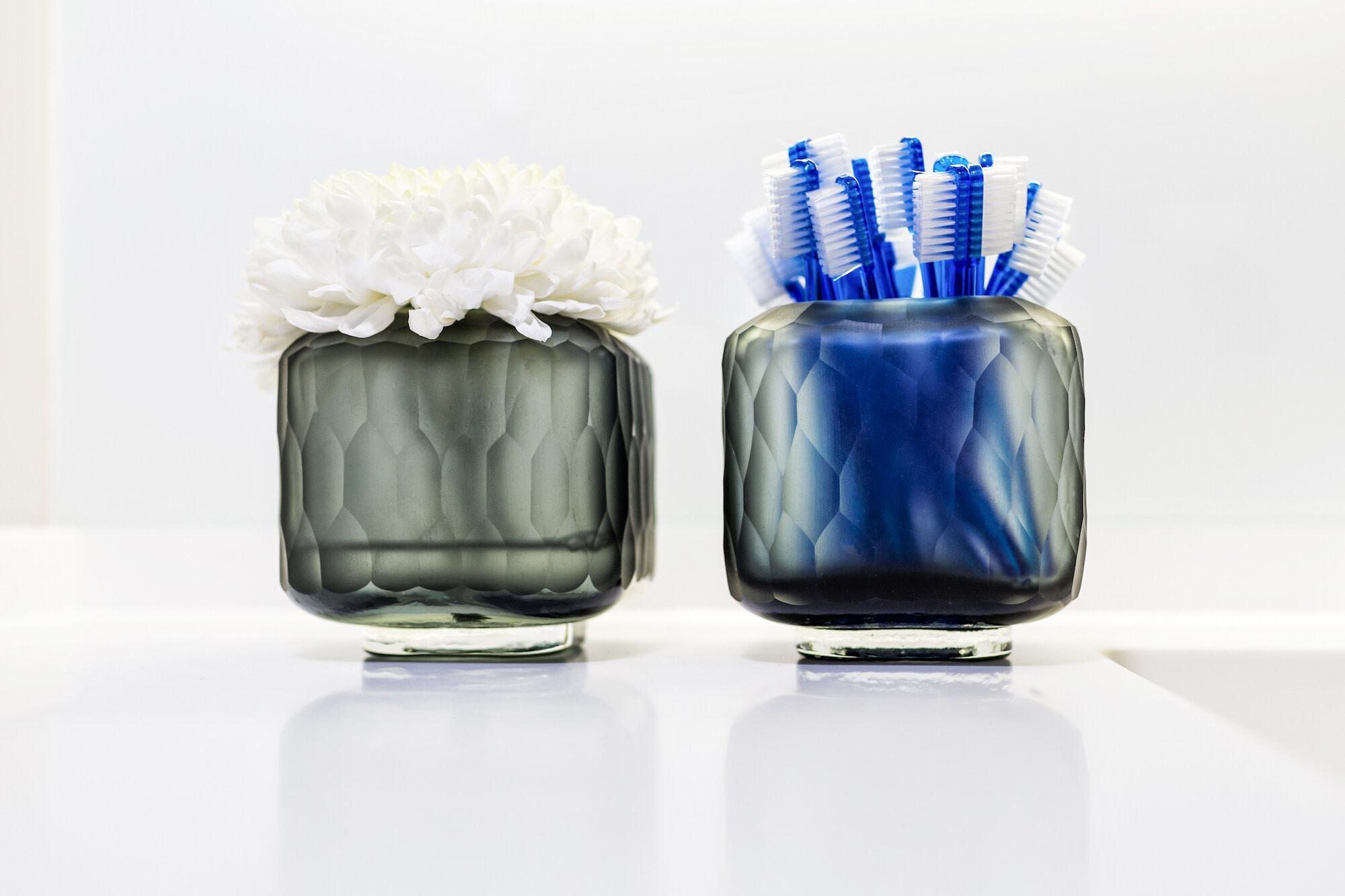 Blaue Zahnbürsten für die Prophylaxe
